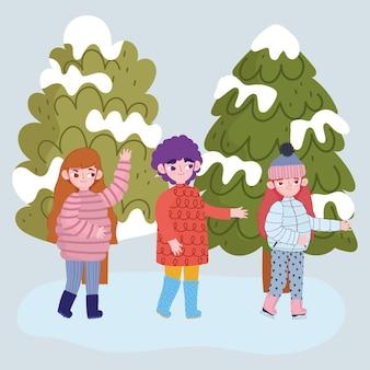 Cartoon jongen en meisjes met warme kleren in het sneeuwlandschap, wintertijd