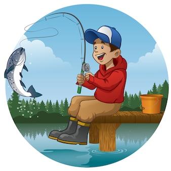 Cartoon jongen genieten van vissen in het meer