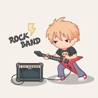 Cartoon jongen gitaarspelen