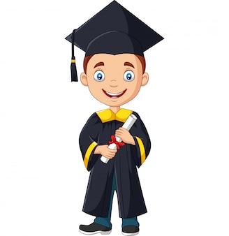 Cartoon jongen in afstuderen kostuum met een diploma