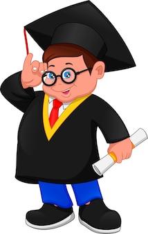 Cartoon jongen in afstuderen kostuum