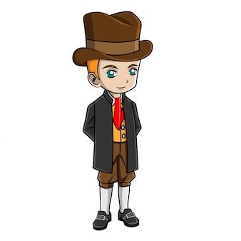 Cartoon jongen italiaans kostuum dragen