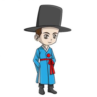 Cartoon jongen korea kleding dragen
