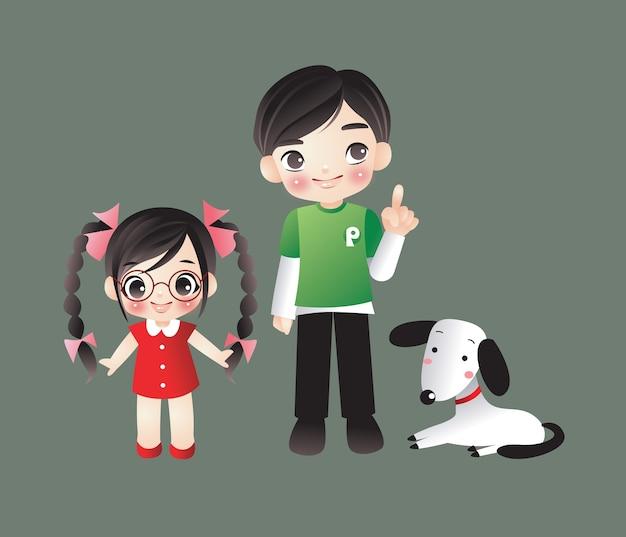 Cartoon jongen & meisje