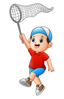 Cartoon jongen met een net