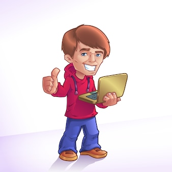 Cartoon jongen met laptop