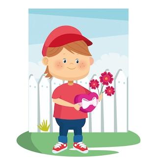 Cartoon jongen met prachtige bloemen en chocolade doos over hek en hemel