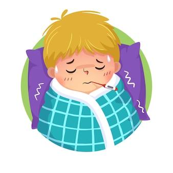 Cartoon jongen met verkoudheid en koorts met een thermometer in zijn mond in bed thuis
