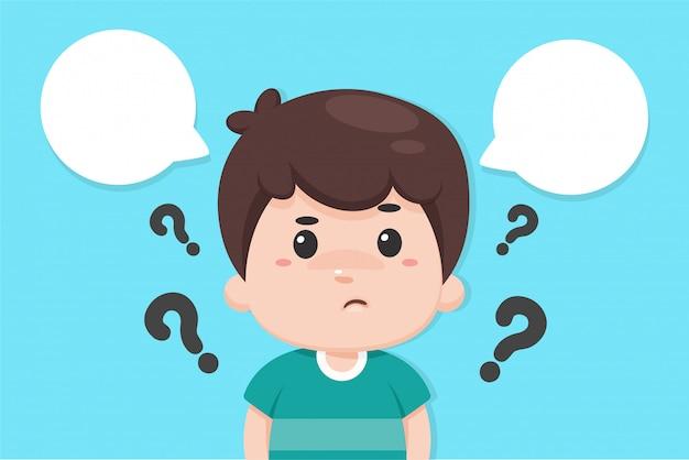Cartoon jongen met vraagtekens rondom beslissen om iets te maken