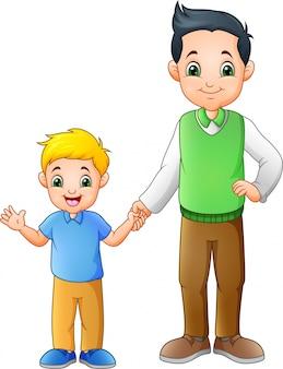 Cartoon jongen met zijn vader hand in hand samen