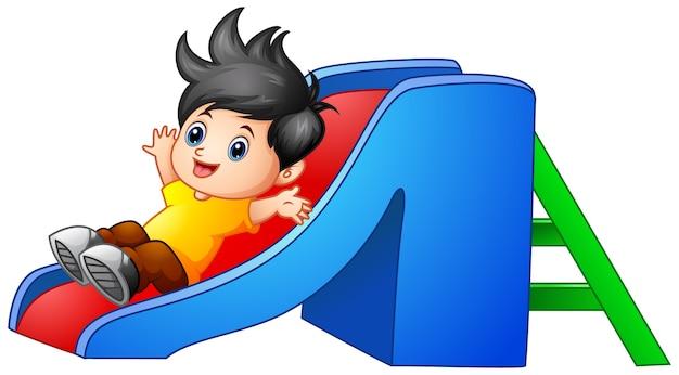 Cartoon jongen naar beneden glijden
