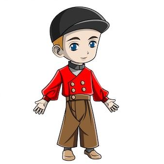 Cartoon jongen nederlands kostuum dragen