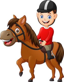 Cartoon jongen paardrijden paard