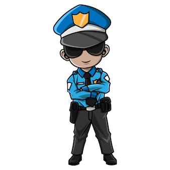 Cartoon jongen politie kostuum dragen