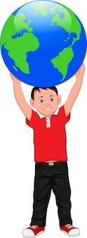 Cartoon jongen poseren met een wereldbol