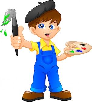 Cartoon jongen schilderen