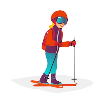 Cartoon jongen skiën in bril geïsoleerd