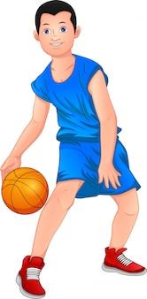 Cartoon jongen spelen basketbal