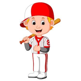 Cartoon jongen spelen honkbal
