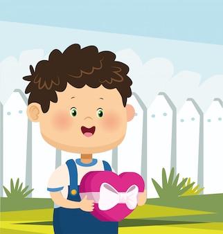 Cartoon jongen staande pictogram over witte hek