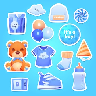 Cartoon jongen verjaardag objecten collectie