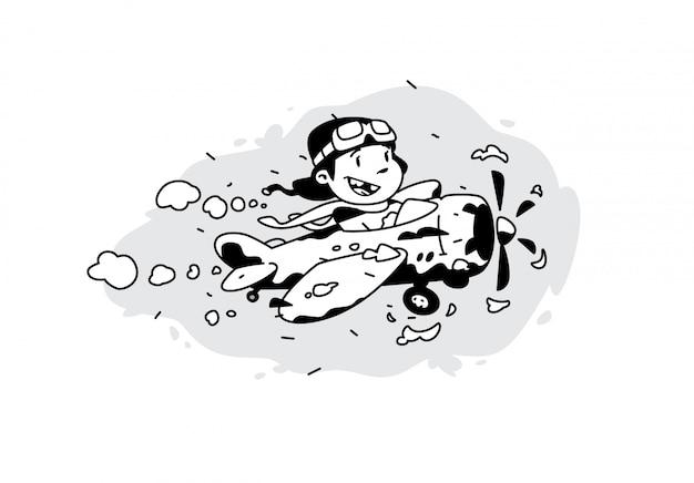 Cartoon jongen vliegt in een vliegtuig tussen de wolken.