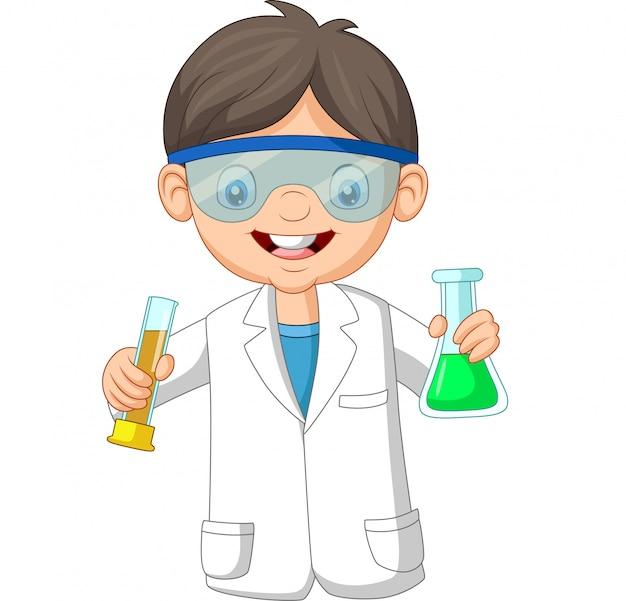 Cartoon jongen wetenschapper bedrijf twee reageerbuis