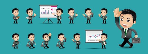 Cartoon jongeren bedrijfspersoon ingesteld