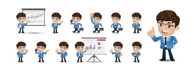 Cartoon jongeren bedrijfspersoon set