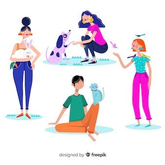 Cartoon jongeren spelen met dieren
