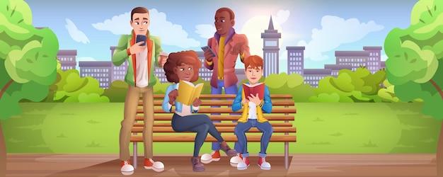 Cartoon jongeren zittend op een bankje in het stadspark. tienerjongens houden smartphone in de hand en chatten in sociale netwerken. meisjes die een boek lezen of studeren. personages communiceren online met mobiele apparaten