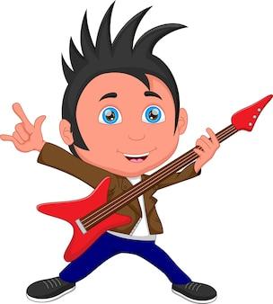 Cartoon jongetje gitaar spelen