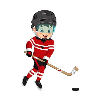 Cartoon jongetje hockey spelen