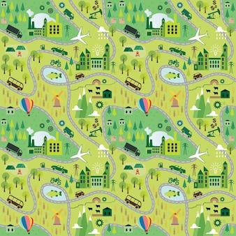 Cartoon kaart naadloos patroon met wegen