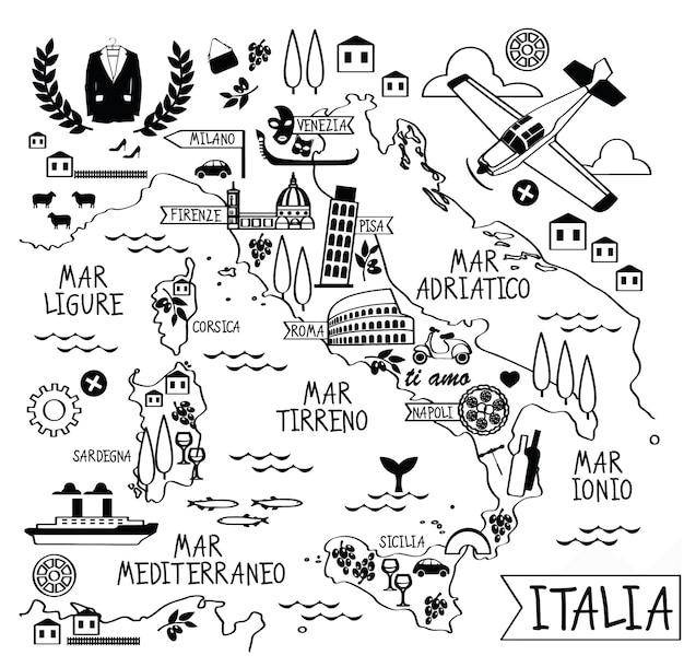 Cartoon kaart van italië met bezienswaardigheden