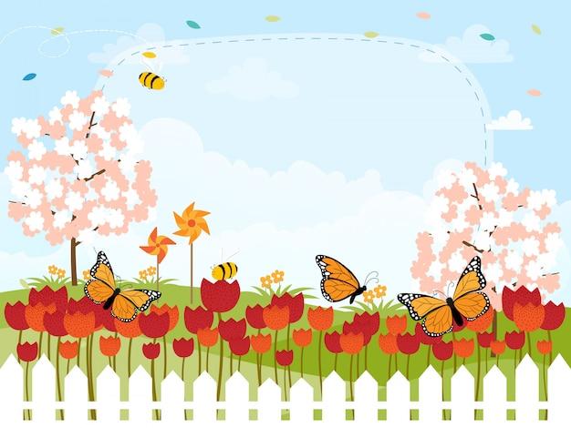 Cartoon kaart voor lente seizoen