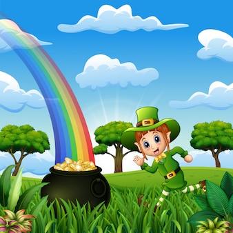 Cartoon kabouter meisje loopt in de buurt van een pot met goud