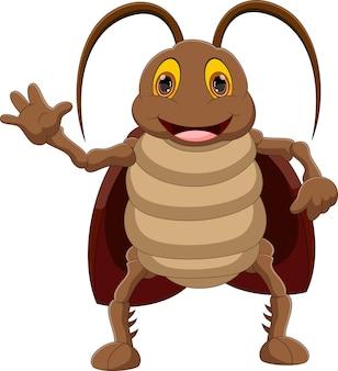 Cartoon kakkerlak zwaaien geïsoleerd op witte achtergrond