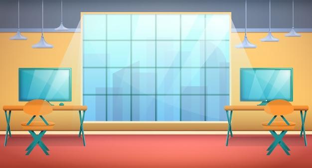 Cartoon kantoorruimte met computers en meubels met uitzicht vanuit het raam van de wolkenkrabbers, vectorillustratie