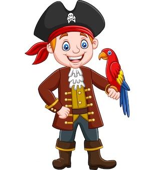 Cartoon kapitein piraat met ara vogel