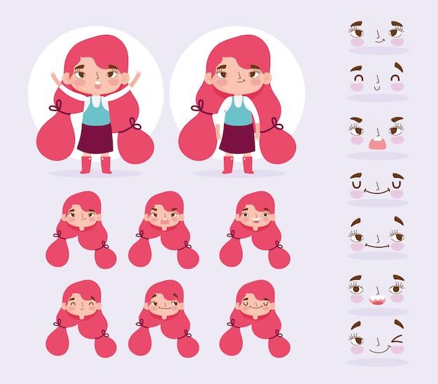 Cartoon karakter animatie meisje met paardenstaarten en gezicht gebaar uitdrukkingen