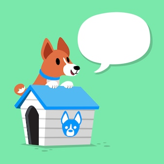 Cartoon karakter basenji hond en kennel met tekstballon