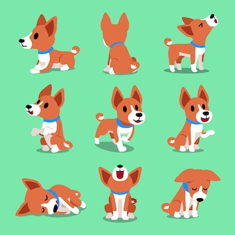 Cartoon karakter basenji hond vormt