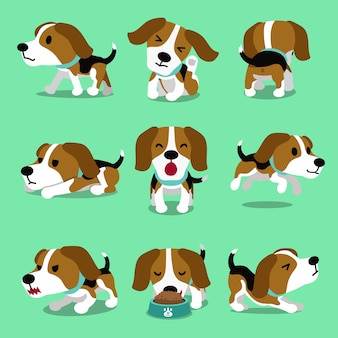 Cartoon karakter beagle hond vormt