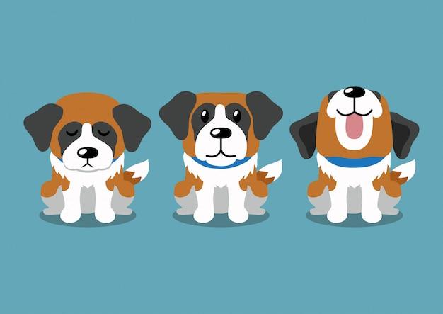 Cartoon karakter bernard hond houdingen