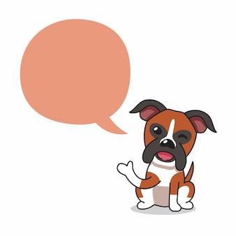 Cartoon karakter bokser hond met tekstballon voor design.