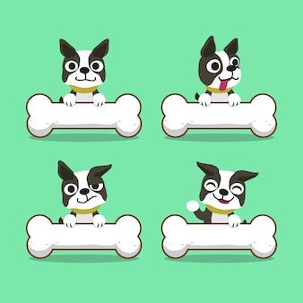 Cartoon karakter boston terrier hond met grote botten