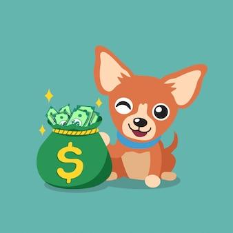 Cartoon karakter bruine chihuahua hond met geld tas