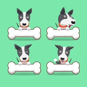 Cartoon karakter bull terrier hond met grote botten