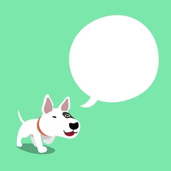Cartoon karakter bull terrier hond met tekstballon
